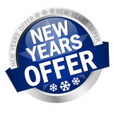 Button New Years Offer. Colored button with banner and text New Years Offer stock illustration