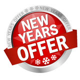 Button New Years Offer. Colored button with banner and text New Years Offer royalty free illustration