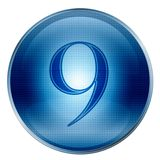 The button Nine blue Royalty Free Stock Photography