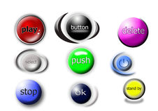 Button. Nine different buttons with names Stock Photography