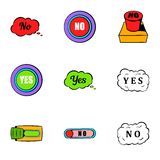 Button no icons set, cartoon style. Button no icons set. Cartoon illustration of 9 button no vector icons for web Royalty Free Stock Photo