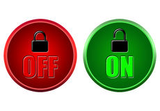 Button on and off. On and off buttons on a white background Stock Photos