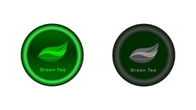 Button with a green tea leaves. stock illustration