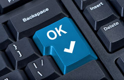 Button OK computer keyboard. Royalty Free Stock Photo