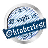 Button Oktoberfest 2017. Vector of a button for German Oktoberfest 2017 in Munich with text o& x27;zapft is & x28;in german& x29 Royalty Free Stock Photography