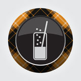 Button orange, black tartan - carbonated drink. Black isolated button with orange, black and white tartan pattern on the border - light gray glass with Stock Photo