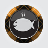 Button with orange, black tartan - fish with smoke. Black isolated button with orange, black and white tartan pattern on the border - light gray grilling fish Royalty Free Stock Photo