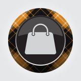 Button with orange, black tartan - handbag icon Royalty Free Stock Photography