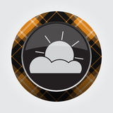 Button orange, black tartan - partly cloudy icon Royalty Free Stock Photos