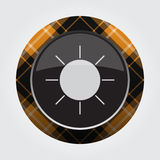 Button with orange, black tartan - sun, sunny icon Stock Photo