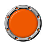 Button orange. The orange button in a metal frame Stock Photography