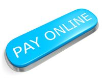 Button PAY ONLINE. Blue button PAY ONLINE isolated on white Royalty Free Stock Photography