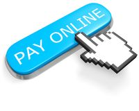 Button PAY ONLINE and hand cursor. Blue button PAY ONLINE and hand cursor isolated on white Stock Photo