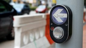 The button on the pedestrian crossing stock footage