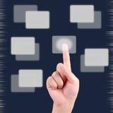 button pekskärmen för trycka på för hand Fotografering för Bildbyråer