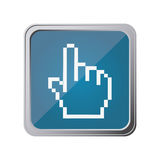 button with pixelated hand pointing with background blue Stock Photography