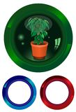 The button with a plant Royalty Free Stock Photo