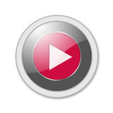 Button play. Red play button isolated on white Royalty Free Stock Images