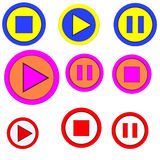 The button of playback, stop, pause. Logo for the button of playback, stop and pause. Abstraction Stock Illustration