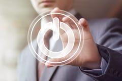 Button Power Business sign man web. Button Power Business sign man Stock Photo