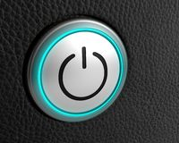 Button power start symbol technology push. 3D royalty free illustration