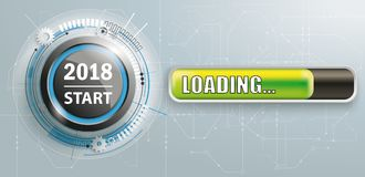 2018 Start Button Circuit Board Loading Banner. Button with progress bar and text 2018 Start Royalty Free Stock Photo