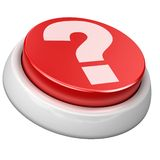 Button question. 3d image of button question. White background Royalty Free Stock Images