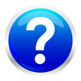 Button with question symbol. Blue button with question symbol Royalty Free Stock Photos