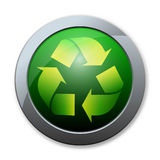 Button of recycle icon Stock Images
