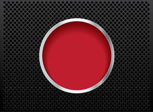 Button red on black metal  background Royalty Free Stock Images