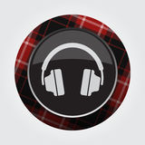 Button with red, black tartan - headphones icon Stock Photos