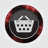 Button red, black tartan - shopping basket icon Royalty Free Stock Photo