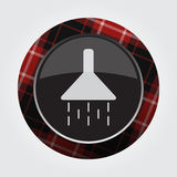 Button with red, black tartan - shower icon Stock Photography