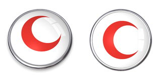 Button Red Crescent Symbol Royalty Free Stock Photography