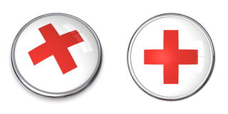 Button Red Cross Symbol. Button with red cross/first aid symbol - top and side view Royalty Free Stock Image