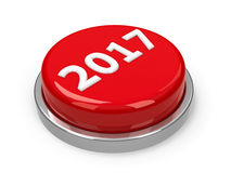 Button 2017. Red 2017 button isolated on white background, three-dimensional rendering Stock Photography
