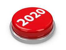 Button 2020. Red 2020 button isolated on white background, three-dimensional rendering, 3D illustration Stock Photos