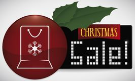 Button and Holly Leaves with Bag for Online Xmas Sales, Vector Illustration stock illustration
