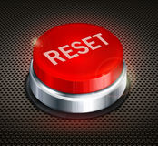 Button reset. Red button with words reset on black background, vector illustration Stock Photography