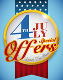 Button with Ribbons Announcing July Offers for Independence Day, Vector Illustration Royalty Free Stock Photography