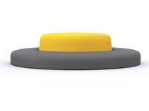 Button. Round yellow button  on white background. 3D icon Stock Image