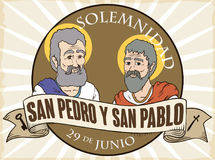 Button with Saints Peter and Paul for Solemnity in Spanish, Vector Illustration Stock Photography