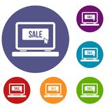 Button sale on laptop icons set Stock Images