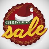Button with Santa`s Hat for Sale Season during Christmas, Vector Illustration stock illustration