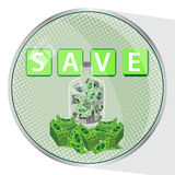 Button save money. dollars in a glass Royalty Free Stock Photos