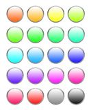 Button Set. 20 different colored buttons isolated on white background stock illustration