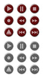 Button Set. Set of nine red buttons with nine grey pressed buttons Stock Images