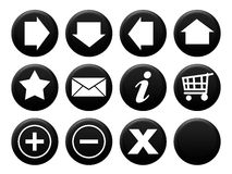 Button Set Black Stock Photos