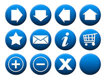 Button Set Blue. 11 different buttons + 1 template to complete the set individually Stock Photo