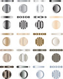 Button, set of buttons that are metal and light. Set of buttons that are metal and light. They have a shape and look like piece of metal with light on. Colors Royalty Free Stock Photos
